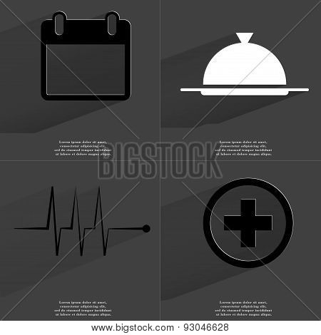Calendar, Tray, Pulse, Plus Sign. Symbols With Long Shadow. Flat Design