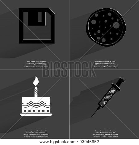 Floppy Disk, Pizza, Cake, Syringe. Symbols With Long Shadow. Flat Design
