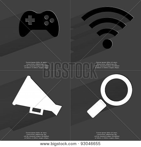 Gamepad, Wlan Icon, Megaphone, Magnifying Glass. Symbols With Long Shadow. Flat Design