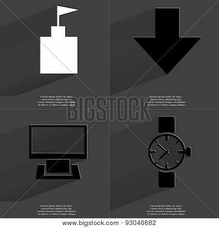 Flag Tower, Arrow Directed Down, Monitor, Wrist Watch. Symbols With Long Shadow. Flat Design
