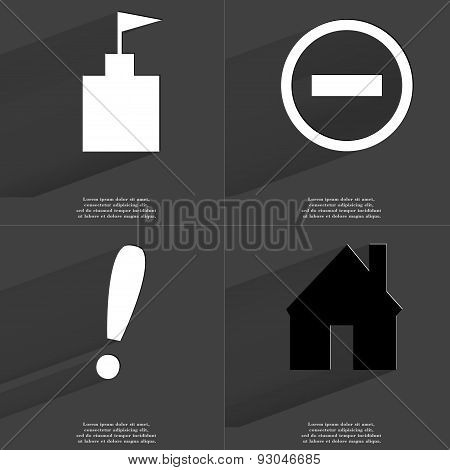 Flag Tower, Minus Sign, Exclamation Mark, House. Symbols With Long Shadow. Flat Design