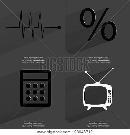 Pulse, Percent Sign, Calculator, Retro Tv. Symbols With Long Shadow. Flat Design