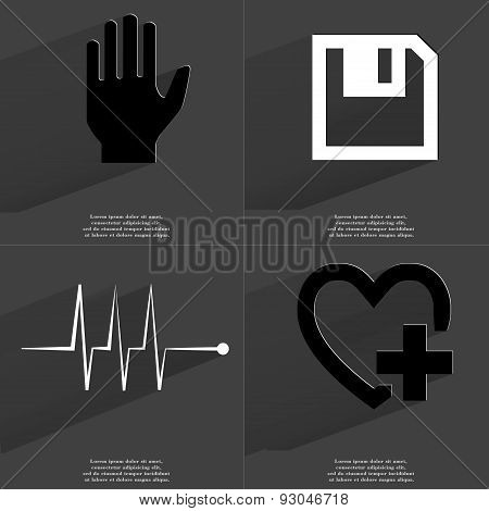 Hand, Floppy Disk, Pulse, Heart Plus Sign. Symbols With Long Shadow. Flat Design