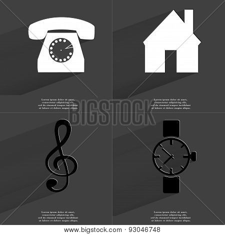 Retro Phone, House, Clef, Wrist Watch. Symbols With Long Shadow. Flat Design