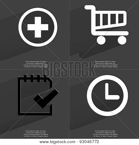 Plus Sign, Shopping Cart, Task Completed Icon, Clock. Symbols With Long Shadow. Flat Design