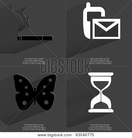 Cigarette, Sms Icon, Butterfly, Hourglass. Symbols With Long Shadow. Flat Design