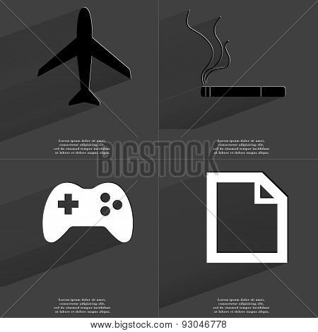 Airplane, Cigarette, Gamepad, File Icon. Symbols With Long Shadow. Flat Design