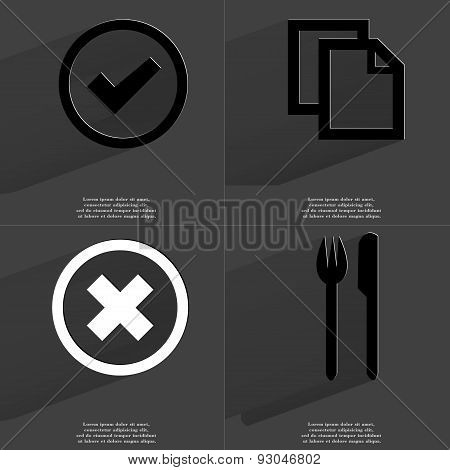 Tick, Copy Icon, Stop Sign, Fork And Knife. Symbols With Long Shadow. Flat Design