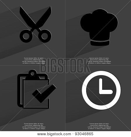 Scissors, Coocking Hat, Task Completed Icon, Clock. Symbols With Long Shadow. Flat Design