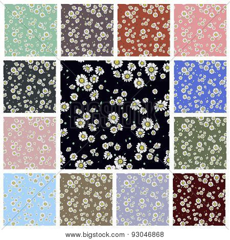 Seamless ditsy floral pattern set.