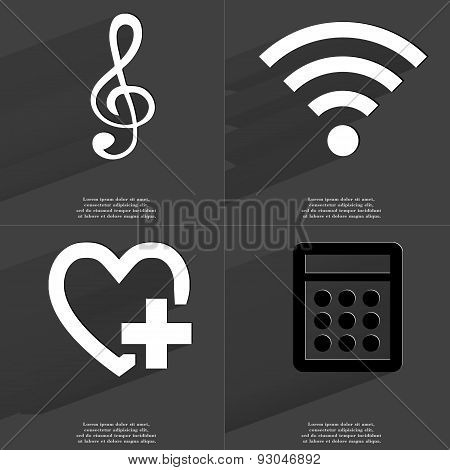Clef, Wlan, Heart Plus Sign, Calculator. Symbols With Long Shadow. Flat Design