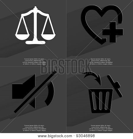 Scales, Heart Plus Sign, Mute Icon, Trash Can. Symbols With Long Shadow. Flat Design