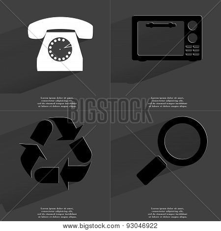 Retro Phone, Microwave, Recycling, Magnifying Glass. Symbols With Long Shadow. Flat Design