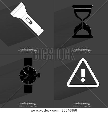 Flashlight, Hourglass, Wrist Watch, Warning Sign. Symbols With Long Shadow. Flat Design
