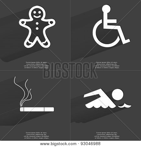 Gingerbread Man, Disabled Person, Cigarette, Silhouette Of Swimmer. Symbols With Long Shadow. Flat D