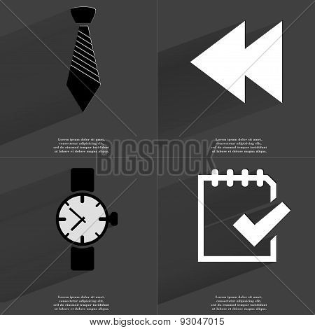 Tie, Two Arrows Media Icon, Wrist Watch, Task Completed Icon. Symbols With Long Shadow. Flat Design