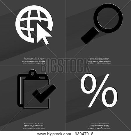 Web Cursor, Magnifying Glass, Task Completed Icon, Percent Sign. Symbols With Long Shadow. Flat Desi