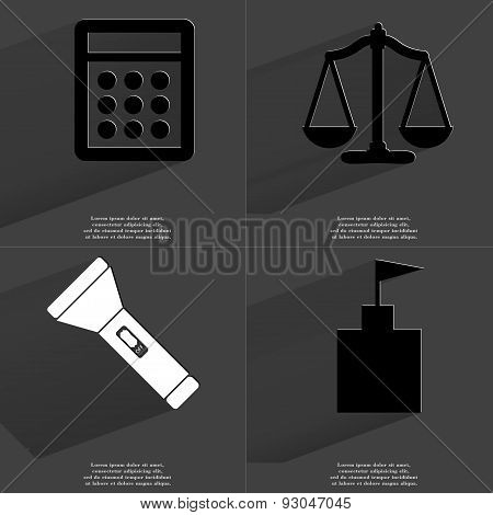 Calculator, Scales, Flashlight, Flag Tower. Symbols With Long Shadow. Flat Design