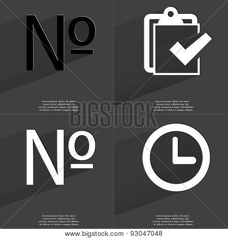 Numero Sign, Task Completed Icon, Clock. Symbols With Long Shadow. Flat Design