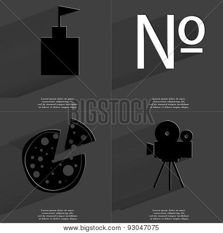 Flag Tower, Numero Sign, Pizza, Film Camera. Symbols With Long Shadow. Flat Design