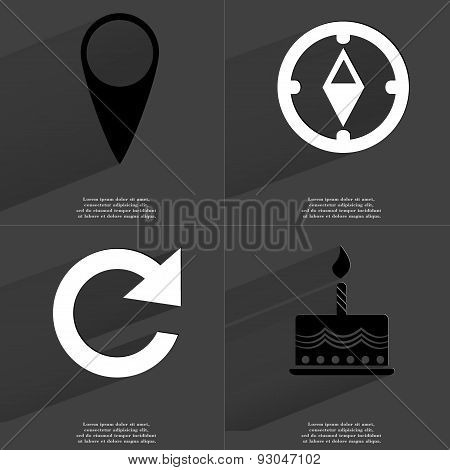 Checkpoint, Compass, Reload Icon, Cake. Symbols With Long Shadow. Flat Design