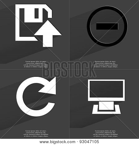 Floppy Disk Upload Icon, Minus Sign, Reload, Monitor. Symbols With Long Shadow. Flat Design