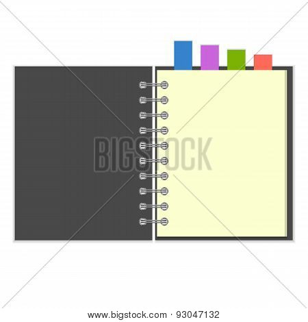 Blank grey notebook with colorful bookmarks