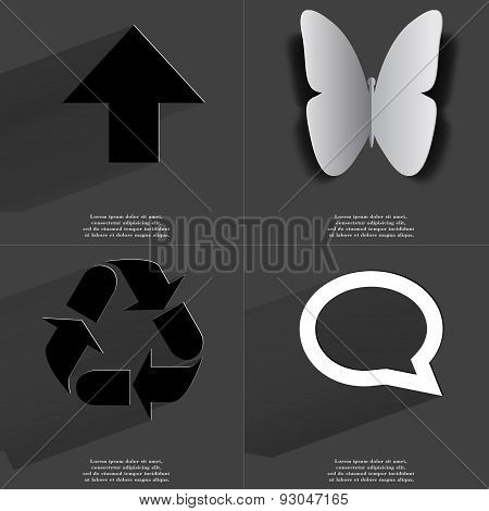 Arrow Directed Upwards, Butterfly, Recycling, Chat Bubble. Symbols With Long Shadow. Flat Design