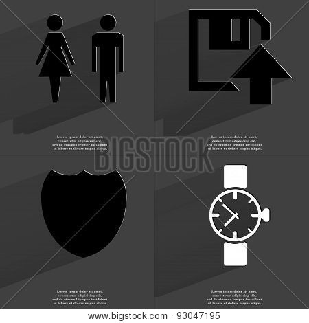 Silhouettes Of Man And Woman, Floppy Disk Upload Icon, Badge, Wrist Watch. Symbols With Long Shadow.