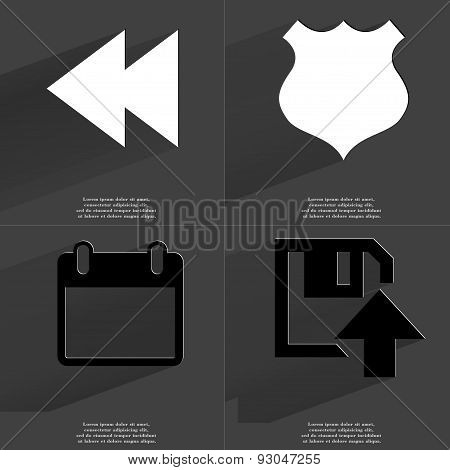 Two Arrows Media Icon, Police Badge, Calendar, Floppy Disk Upload Icon. Symbols With Long Shadow. Fl
