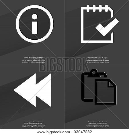 Information Sign, Task Completed Icon, Two Arrows Media, Tasklist. Symbols With Long Shadow. Flat De