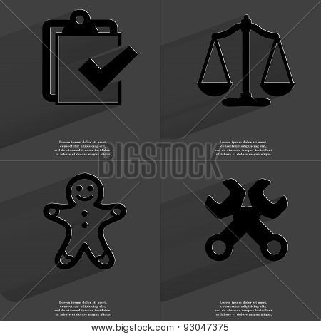 Task Completed Icon, Scales, Gingerbread Man, Wrenches. Symbols With Long Shadow. Flat Design