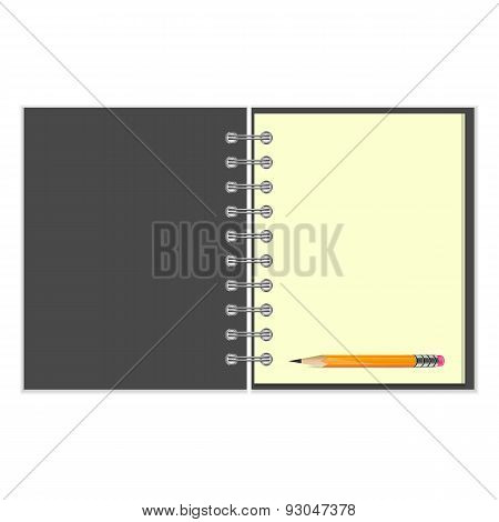 Blank grey cover notebook and pencil