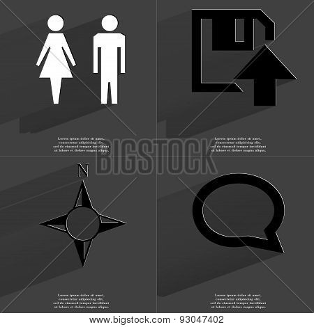 Silhouettes Of Man And Woman, Floppy Disk Upload Icon, Compass, Chat Bubble. Symbols With Long Shado