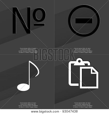 Numero Sign, Minus, Note, Tasklist. Symbols With Long Shadow. Flat Design