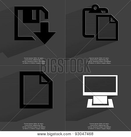 Floppy Disk Download Icon, Tasklist, File, Monitor. Symbols With Long Shadow. Flat Design