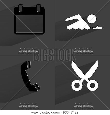 Calendar, Silhouette Of Swimmer, Receiver, Scissors. Symbols With Long Shadow. Flat Design