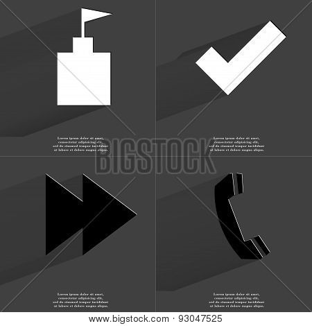 Flag Tower, Tick Sign, Two Arrows Media Icon, Receiver. Symbols With Long Shadow. Flat Design