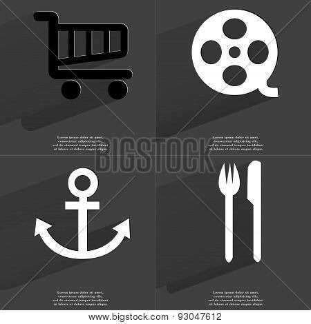 Shopping Cart, Videotape, Anchor, Fork And Knife. Symbols With Long Shadow. Flat Design