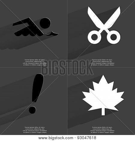 Silhouette Of Swimmer, Scissors, Exclamation Mark, Maple Leaf. Symbols With Long Shadow. Flat Design