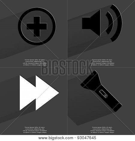 Plus Sign, Sound Icon, Two Arrows Media, Flashlight. Symbols With Long Shadow. Flat Design