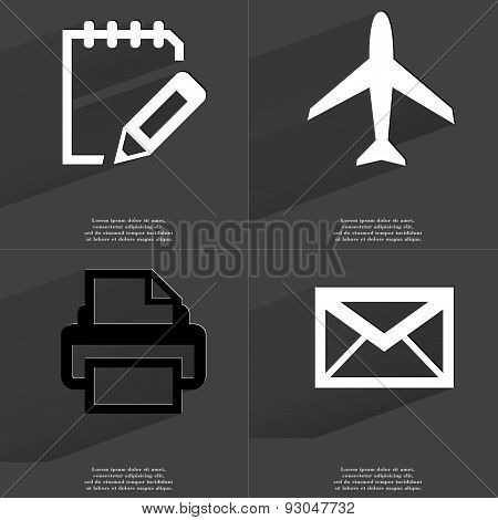 Task Completed Sign, Airplane, Printer, Message. Symbols With Long Shadow. Flat Design