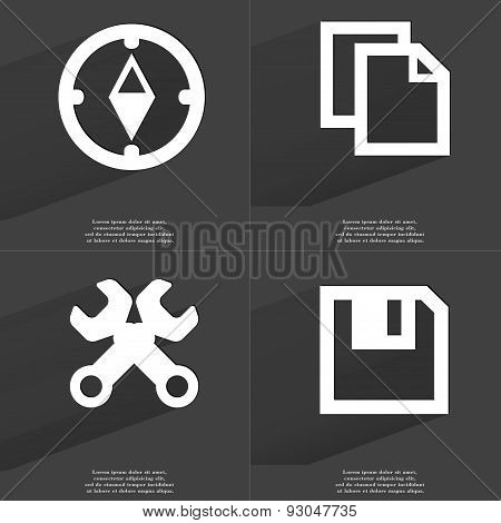 Compass, Copy Icon, Wrenches, Floppy Disk. Symbols With Long Shadow. Flat Design