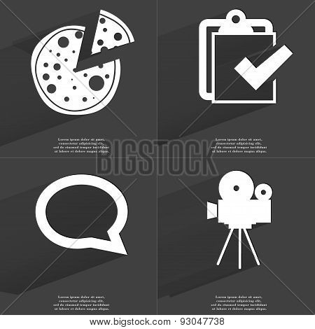 Pizza, Task Completed Icon, Chat Bubble, Film Camera. Symbols With Long Shadow. Flat Design