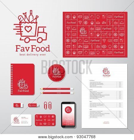 Favorite Food Delivery Abstract Vector Concept Icon or Logo Template with Corporate Identity and Sta