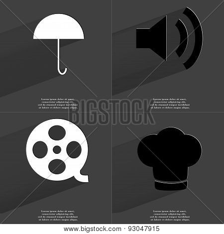 Umbrella, Sound Icon, Videotape, Cooking Hat. Symbols With Long Shadow. Flat Design