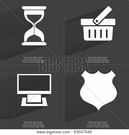 Hourglass, Basket, Monitor, Police Badge. Symbols With Long Shadow. Flat Design