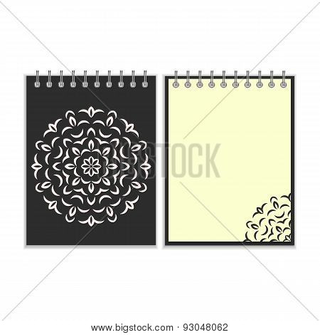 Spiral black cover notebook with round ornate pattern