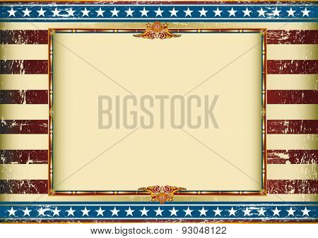 grunge horizontal american circus. Old american background with a frame and a texture. Great background to make use of an advertising. See another illustrations like this on my portfolio.