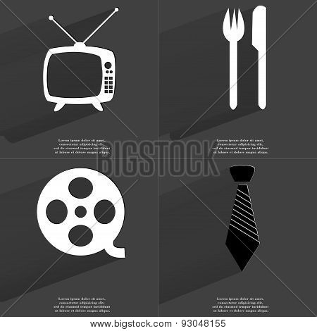 Retro Tv, Fork And Knife, Videotape, Tie. Symbols With Long Shadow. Flat Design